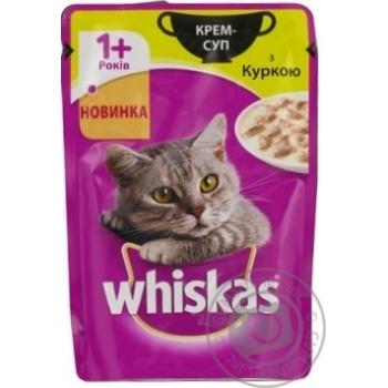 Скидка на Крем-суп Whiskas для кошек с курицей 85г