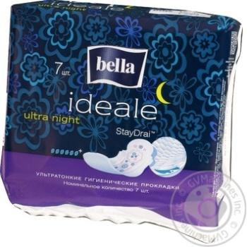 Прокладки Bella Ideale Ultra гигиенические ультратонкие ночные 6 капелек 7шт
