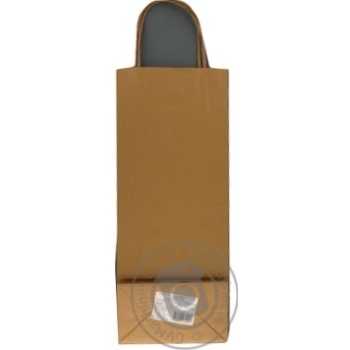 Крафтовый пакет под бутылку коричневый