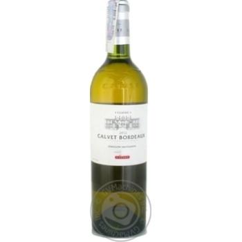Вино белое Кальве Бордо Классик Блан натуральное виноградное тихое сухое 12% стеклянная бутылка 750мл Франция