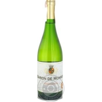 Вино біле Барон де Монро Шардоне натуральне виноградне сухе 12% скляна пляшка 750мл Франція
