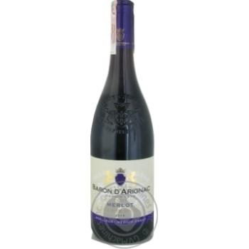 Вино Baron d`Arignac Merlot красное полусладкое 12% 0,75л - купить, цены на СитиМаркет - фото 1