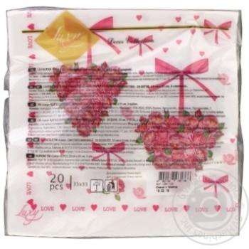 Серветки Luxy Серце з троянд 33*33см 20шт - купити, ціни на МегаМаркет - фото 2