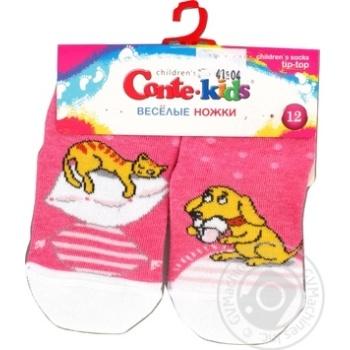 Шкарпетки дитячі Conte Kids веселі ніжки 17С-10СП, розмір 12, 334 рожевий