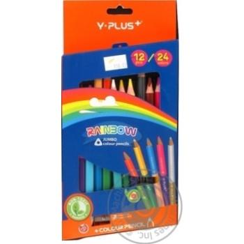 Олівці Y PLUS Rainbow jumbo 24 кольори двосторонні з точилкою