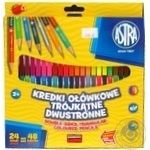 Astra Colored Triangular Two-Sided Pencils 24pcs