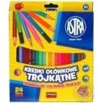 Олівці Astra кольорові трикутні 24 кольори