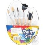 Палитра Colorino пластиковая + кисточки школьные 6шт