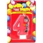 Свічки для торту Помічниця циферка з клоуном 4, 8см