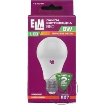 Лампа ELM LED 8W E27 18-0039 x12*