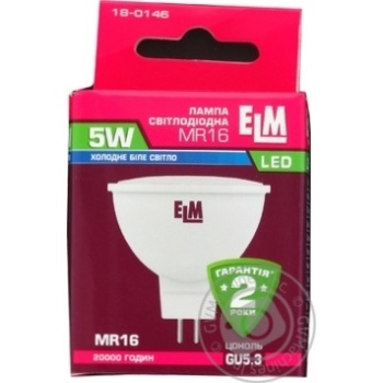 Лампа ELM Led MR16 5W PA10 GU5.3 4000 120гр 18-0146 - купить, цены на МегаМаркет - фото 3