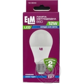 Лампа ELM Led B60 12W PA10 E27 4000 PA10*