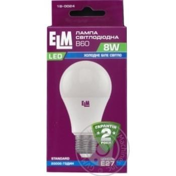 Лампа ELM Led B60 8W PA10 E27 4000 18-0024* - купить, цены на МегаМаркет - фото 1