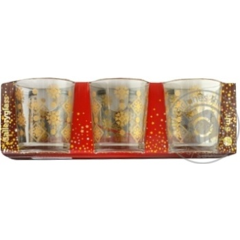 Набір склянок Ялинка Золото 6шт 250мл - купити, ціни на Фуршет - фото 1