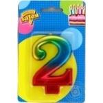Свеча для торта Веселая затея цифра 2 8см