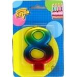 Свеча для торта Веселая затея цифра 8 8см