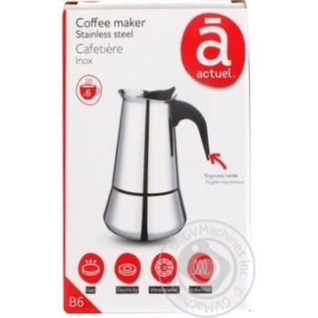 Actuel geyser coffee machine for 6 cups