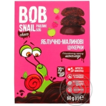 Цукерки Bob Snail яблучно-малинові в чорному шоколаді без цукру 60г - купити, ціни на МегаМаркет - фото 2