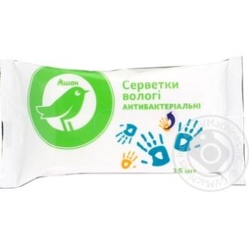 Вологі серветки Ашан антибактериальные 15шт - купить, цены на Ашан - фото 3