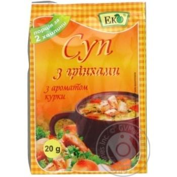 Суп Эко Большая ложка с гренками куриный вкус 20г - купить, цены на Ашан - фото 1