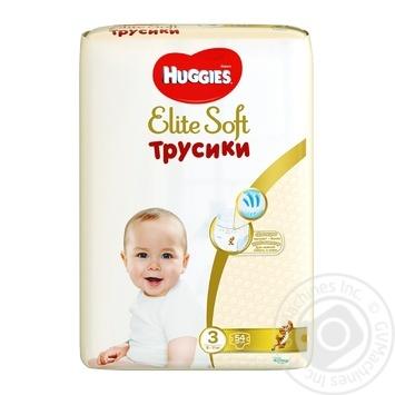 Трусики-подгузники Huggies Elite Soft mega 3 54шт - купить, цены на Метро - фото 1