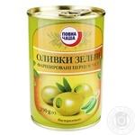 Оливки Повна Чаша зеленые фарш перцем чили пастер 290г