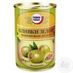 Оливки Повна Чаша зеленые фаршир лососем пастер 290г