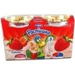 Йогурт Данон Растишка Дино-полдник клубника обогащенный витаминами и минералами 3% 2х115г и печеньем 2х8.79г пластиковый стакан Украина