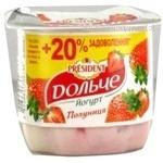 Йогурт 3,2% Дольче від President Полуниця 120г