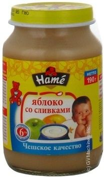 Пюре Хаме Яблуко з вершками для дітей з 6 місяців скляна банка 190г Чехія