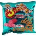 Сухари Три корочки ржаной с колбасой 100г Украина