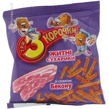Сухарики Три корочки житня з беконом 40г Україна