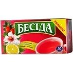 Tea Beseda herbal fruit black packed 20pcs 30g Russia