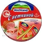 Сир Хохланд плавлений з шинкою 55% 140г Росія