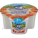 Сир кисломолочний зернистий 5% Простоквашино Персик стакан 150г