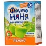 Sterilized clarified reconstituted sugar-free juice Fruto Nyanya apple for children from 3+ months tetra pak 200ml Russia
