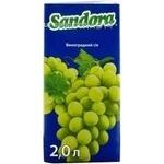 Сок Сандора виноградный из белого винограда восстановленный осветленный пастеризованный тетрапакет 2000мл Украина