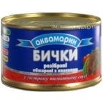 Бычки Аквамарин разобраны обжаренные с фасолью в остром томатном соусе 240г Украина