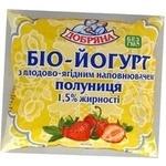 Yogurt Dobriana strawberries with cream 1.5% 400g sachet Ukraine