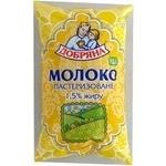 Молоко Добряна пастеризованное 1.5% пленка 1000г Украина