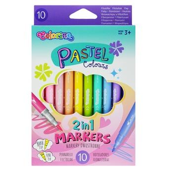 Фломастери Colorino Pastel двосторонні 10 кольорів