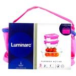 Набір контейнерів Luminarc Pure Box Active прямокутних 2шт*380мл 1шт*820мл 3шт + Сумка