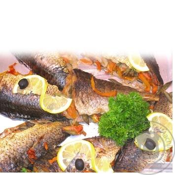 Рыба карп с овощами запеченная