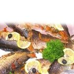 Fish carp with vegetables baked