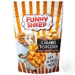 Funny Sheep Popped Corn Coated With Caramel With Peanuts And Peanut Butter  100g