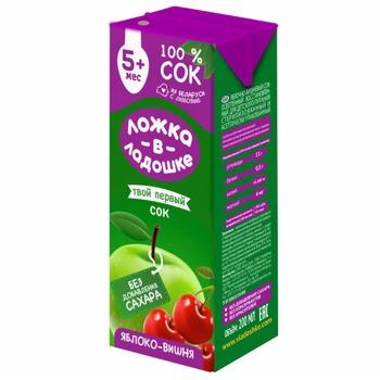 Сок Ложка в ладошки яблочно-вишневый 200мл - купить, цены на Фуршет - фото 1