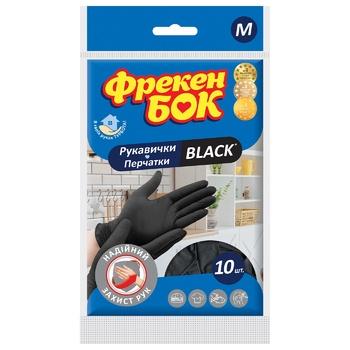 Frecen Bok Black Latex Gloves M 10pcs - buy, prices for CityMarket - photo 1