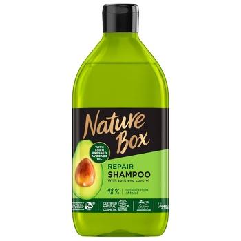 Шампунь Nature Box для восстановления волос и против секущихся кончиков с маслом авокадо холодного отжима 385мл