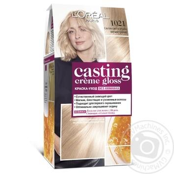 Краска-уход для волос L'Oreal Casting Creme Gloss 1021 Светло-светло-русый перламутровый без аммиака - купить, цены на Novus - фото 1