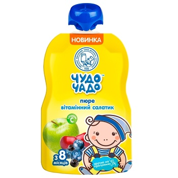 Пюре Чудо-Чадо Витаминный салатик с витамином С от 8-ми месяцев 90г - купити, ціни на CітіМаркет - фото 1
